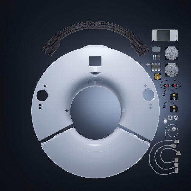 Fried Kunststofftechnik bietet eine kunststoffgerechte Konstruktion und Hochglanzlackierung für Computertomograph.