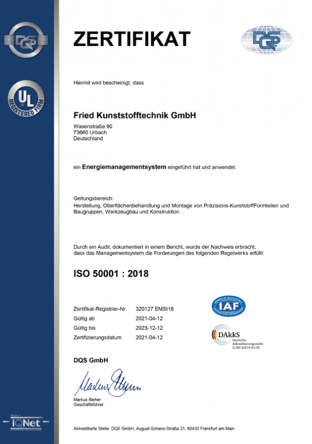 Zertifikat ISO 50001:2018